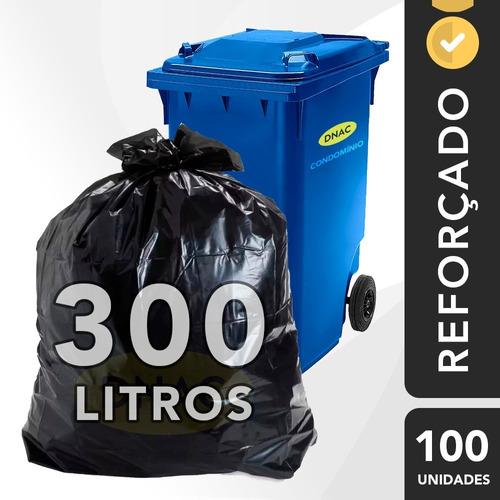 Saco Lixo Preto Reforçado 300 Litros G 0,05 - 100 Un.