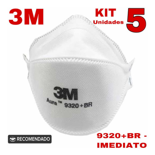 Cx 5un Respirador 9320br Aurea Pff2 N95 3m - Caixa 5un
