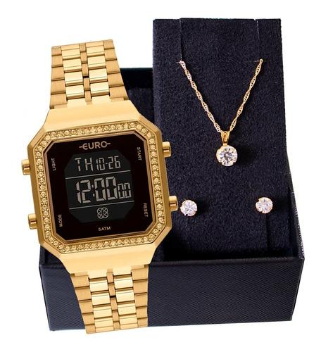 Kit Relógio Feminino Euro Fashion Fit Diamond Colar E Brinco