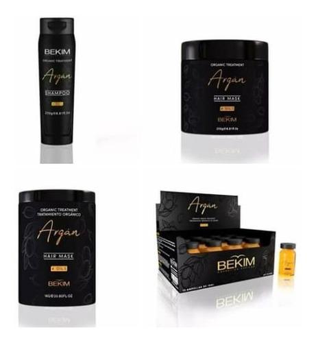 Combo Shampoo Ampollas Baño De Crema Argan 4 Oils