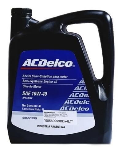 Aceite Acdelco Semisintetico 10w40 X4 Lt Chevrolet