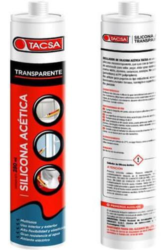 Silicona Acetica Transparente X280ml Pegamento Para Zocalos