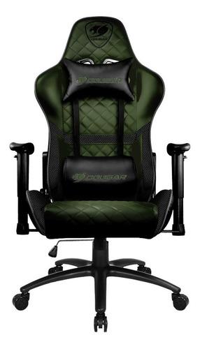 Cadeira De Escritório Cougar Armor One  Black E X Com Estofado Do Couro Sintético