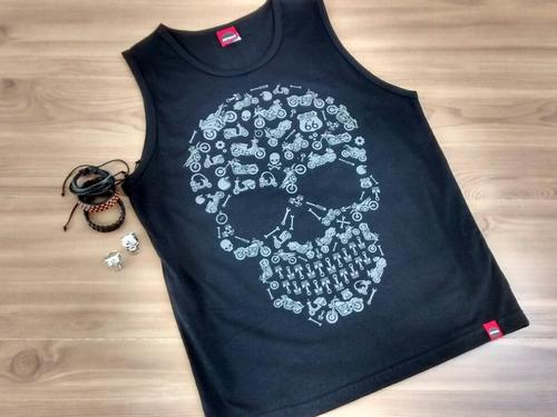 Camiseta Skull Masculino Moto Rock Harley Dyna Sportster 883