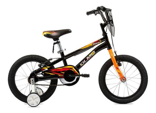 Bicicleta Infantil Olmo Infantiles Bold R16 Frenos V-brakes Color Negro/naranja