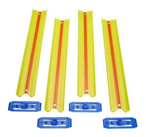 Pista Hot Wheels - 4 Seções Retas Amarela - 90cm - Track & B