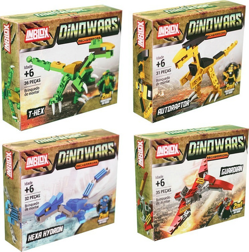 Kit 4 Blocos De Montar Dinossauro Robô Dinowars Inblox 134pc