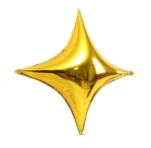 10 Balão Estrela Metalizado 4 Pontas Decoração Festa Ar Gás