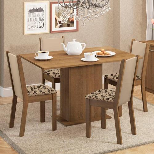 Sala De Jantar Madesa Talita Mesa Tampo Madeira 4 Cadeiras