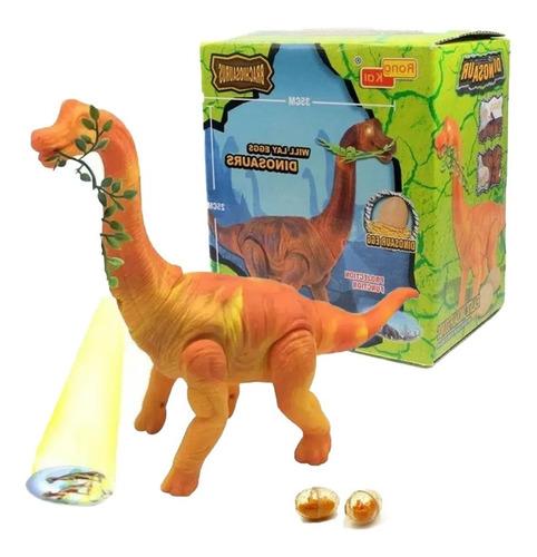 Dinossauro Grande Braquiossauro Som Luz Movimento Bota Ovos