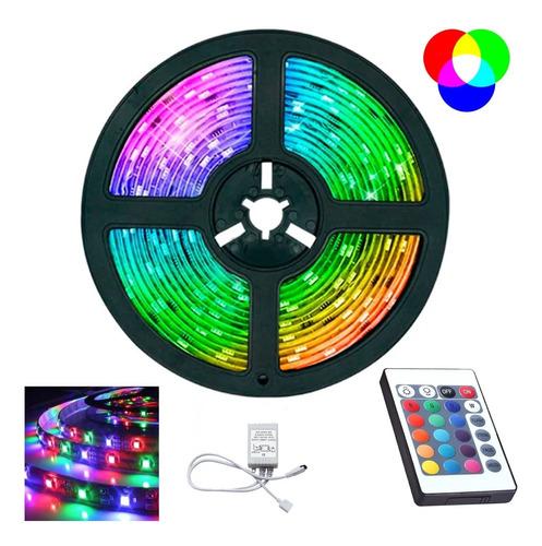 Fita Led Rgb 3528 Colorida 5m + Controle 300 Led Decoração