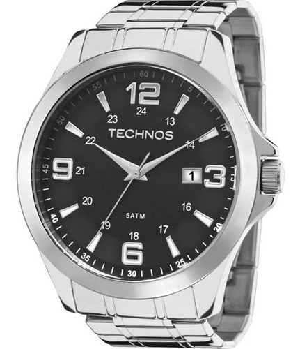 Relógio Technos Masculino Analógico Aço Prata Calendário