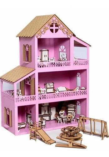 Casa Casinha De Boneca Polly +36móveis+parquinho+montada