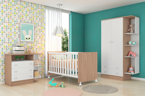 Quarto Bebê Completo Berço Cômoda Guarda Roupa Móveisleartam