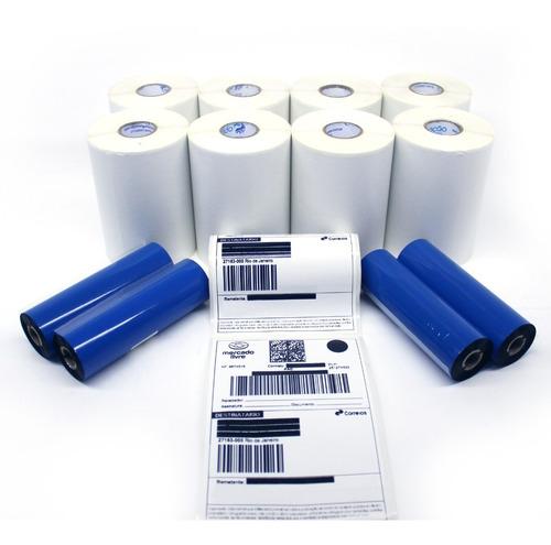 Kit 10 Rolos Etiquetas  10x15cm Couche + 5 Ribbons Envios