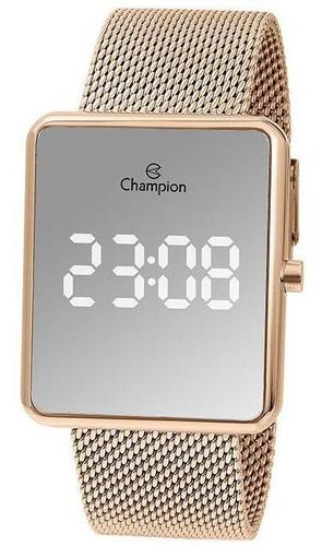 Relógio Champion Feminino Ref: Ch40080z Led Espelhado Rosé