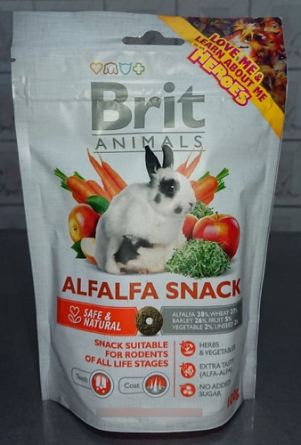 Alfalfa Snack Brit Animals 100gr Alimento Conejos Roedores