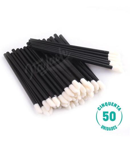 Pincel Descartável Lábios Batom Gloss Micropigmentação 50 Un