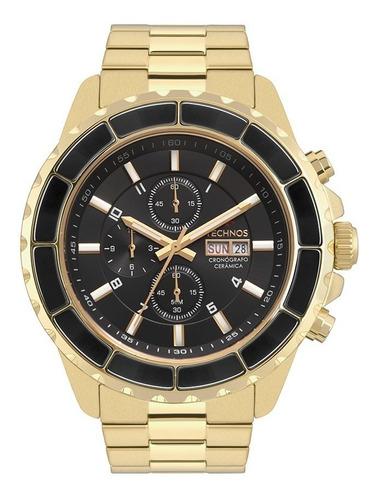 Relógio Technos Masculino Dourado Aço Cronógrafo Barato