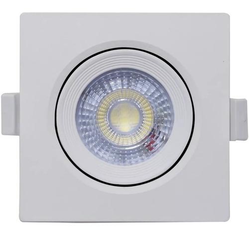 Kit 10 Spot Led 3w Quadrado Direcionável Embutir Luminaria Luz Bivolt Branco Frio + Reator