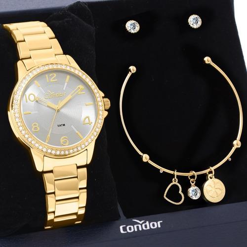 Kit Relógio Feminino Condor Com Semi Joias Co2035kwn/k4c