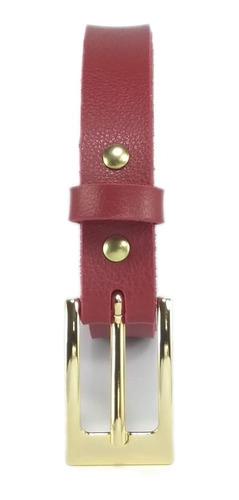 Cintos Femininos Dourado Fino Luxo 2,0 Cm Couro Sintetico