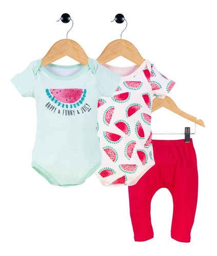 Kit Menina Baby Body/body/calça Estampado Elian