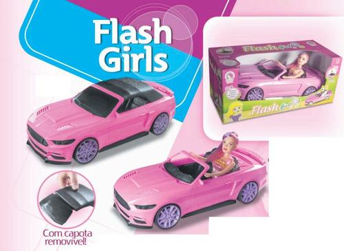 Carrinho Carro Rosa Conversível Para Boneca Barbie + Brinde