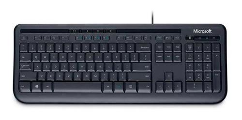 Teclado Microsoft 600 Qwerty Español Color Negro