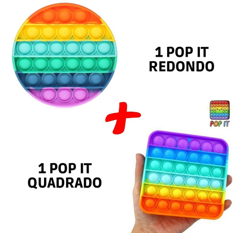 Kit 2 Pop It Fidget Brinquedo Anti Stress Bolha Colorido