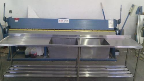 Pia Em Aço Inox 2.87x60x90 Com 2 Cubas 60x50x35 Em Promoçao