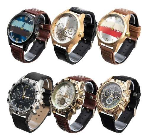 Kit Com 4  Relógios Masculino Pulseira De Couro Atacado