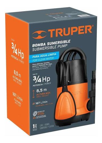 Bomba Eléctrica Sumergible Para Agua Limpia 3/4 Hp Truper