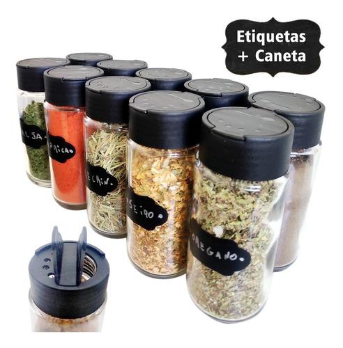 Kit 12 Potes Tempero + 30 Etiquetas Lousa 1 Caneta De Brinde