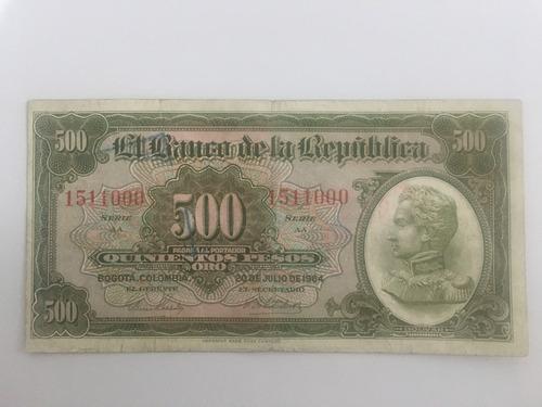 Billete De 500 Pesos De 1964 Colombia