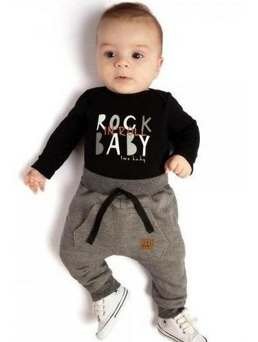 Roupa De Bebê Menino Conjunto Body E Calça - Rock Baby