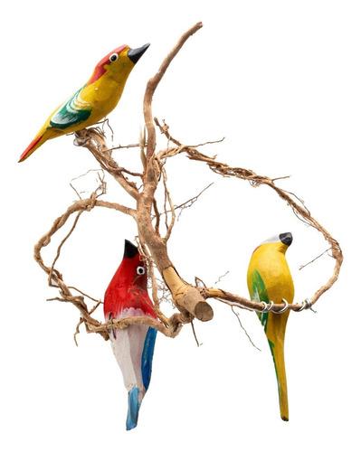 Passarinhos Na Raiz Pássaro De Madeira Para Casa Jardim
