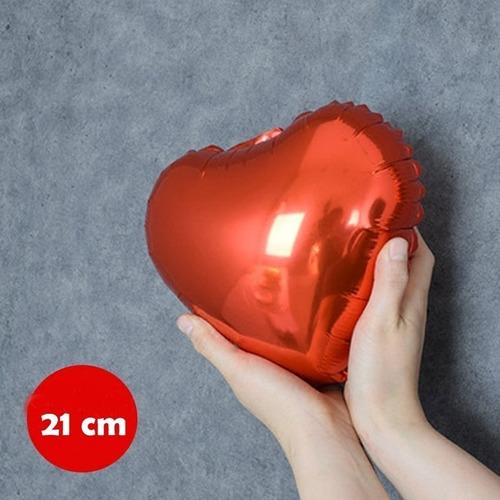 50 Balão Coração Metalizado Cores 21cm Centro Mesa Decor Ar