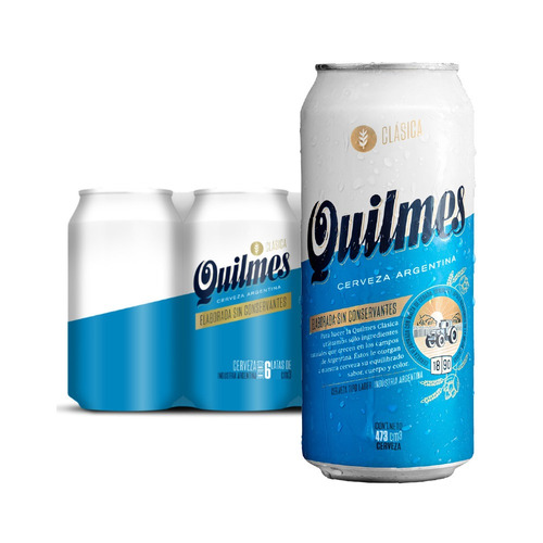Cerveza Quilmes Clásica American Adjunct Lager Rubia Lata 473ml 6 U
