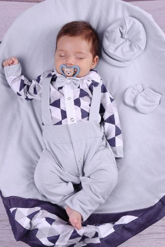 Saída De Maternidade Branca Menino Azul Miguel 04 Peça Cinza
