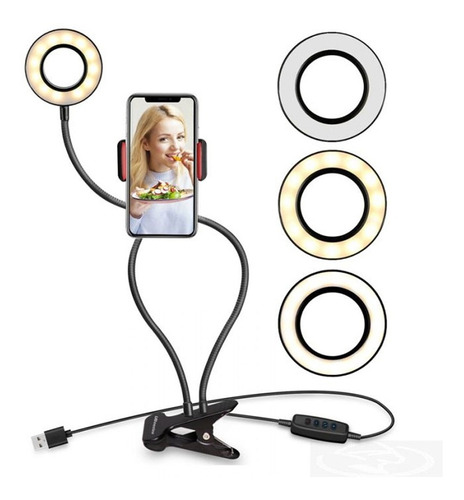 Ring Light De Mesa Iluminador Led Com Suporte Celular