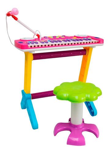 Piano Infantil Banquinho Microfone Bw151 Importway