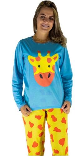 Pijama Gatinho Feminino Longo De Inverno Cumprido Compre Já