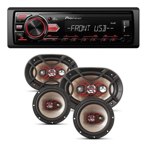 Kit Auto Falante Universal Toca Rádio Carro Mp3 Player Usb