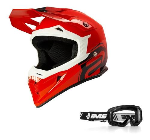 Capacete Motocross Asw Core Legacy 2021 Vermelho Brinde