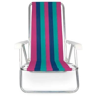 Cadeira De Praia Reclinável Alumínio 4 Posições 2229