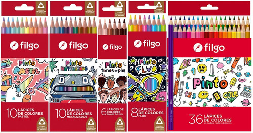 Lapiz Filgo Pinto Pack X 70 Clásicos Fluo Pastel Metal Skin