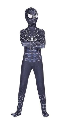 Fantasia Homem Aranha Black Suit Infantil Spider Cosplay