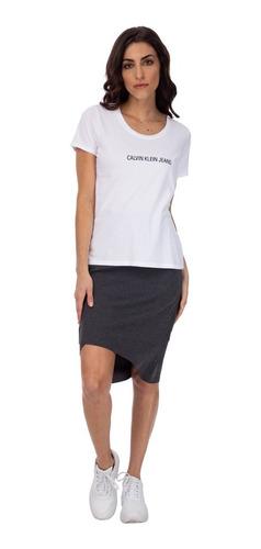 Saia Midi Malha Suedine Calvin Klein Mescla Cf0oc16sm494