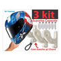 3 Kit Suporte De Capacete Parede Para Pendurar Chaves Casaco